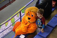 SCHAATSEN: CALGARY: Olympic Oval, 09-11-2013, Essent ISU World Cup, Oranje leeuw, schaatssupporter, ©foto Martin de Jong