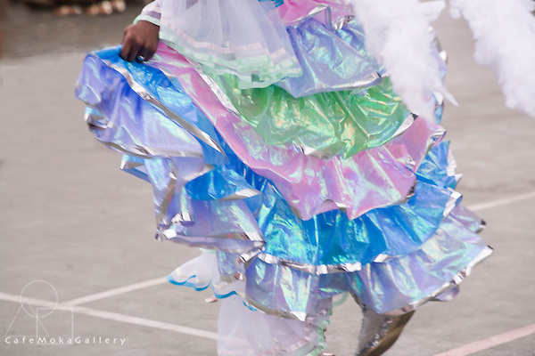 Trinidad Carnival, Junior carnival, Pastel frills and dancing feet, costume detail of a Junior queen costume,
