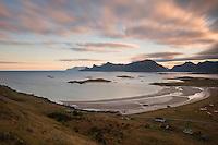 Autumn view over Ytresand beach, Moskenesøy, Lofoten Islands, Norway
