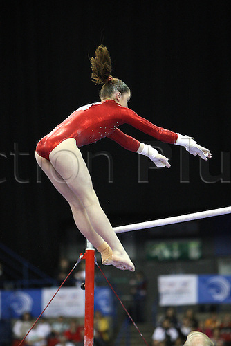 Aliya Mustafina of Russia competes at the uneven bars during the senior women apparatus final at the European Artistic Gymnastics Championship at National Indoor Arena in Birmingham, UK on May 2, 2010.