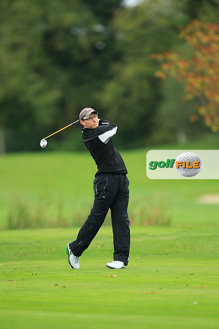 Greame Dunlea (Adare Manor) on the 15th tee during Round 3 of The Cassidy Golf 103rd Irish PGA Championship in Roganstown Golf Club on Saturday 12th October 2013.<br /> Picture:  Thos Caffrey / www.golffile.ie