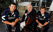Picture by Donald MacLeod 14.08.09 - Note this picture is free to use in connection with the following Scottish Cricket release - Blofeld supports the Saltires - Henry Blofeld, the renowned Test Match Special commentator, today met Saltires players Dewald Nel and Gordon Drummond to offer his support ahead of the eagerly anticipated ODI clash with Australia in Edinburgh on Friday 28th August. Blofeld is in Edinburgh to do two shows at the EICC as part of the Edinburgh Fringe Festival, was keen to offer his advice to Gordon (left) and Dewald on how to defeat the Aussies, much as he hopes England will do in the final test next week. Tickets for the Saltires clash with Australia are still available through www.ticketsoup.com or 0844 4811221. For further information please contact Roddy Smith, Scottish Cricket on 07825 172340 (m)