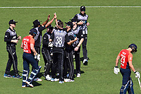 3rd November 2019, Wellington, New Zealand;  Blackcaps players celebrate the wicket of England's Jonny Bairstow off the bowling of Tim Southee during the second T20 International game between New Zealand and England, Westpac Stadium, Wellington, Sunday 3rd November 2019.  - Editorial Use
