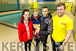 Sharon Locke with Fionn and Wayne Murphy been shown the pool facilities by lifeguard Sean O'Sullivan at the Kerry Sports Academy Open Day at the I T Tralee on Saturday.