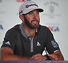 Dustin Johnson speaks with the media after shooting a 3-under 67 in the second round of the U.S. Open Championship at Shinnecock Hills Golf Club in Southampton on Friday, June 15, 2018. He tops the leaderboard after rounds with an overall score of 4-under 166.