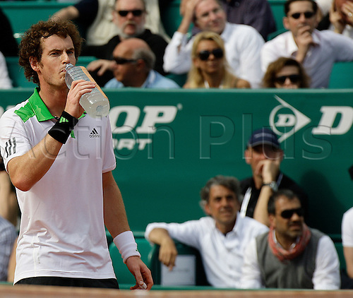 14.04.2011. Andy Murray (GBR) in his match against Gilles Simon (FRA) during the third round  of the ATP Masters Series Tennis at the Monte Carlo Country Club on April 14, 2011 in Monte Carlo, Monaco.