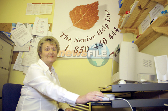 23-12-04 - Senior Helpline National Co-Ordinator Mary Nally photographed in her office in the Third Age centre, Summerhill, County Meath..Photo:Barry Cronin/Newsfile.