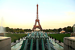 Water cannon of fountain in Jardins Trocadero with Eiffel Tower in the background.City of Paris. Paris. France