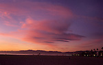 Sunset over Santa Monica beach and mountains
