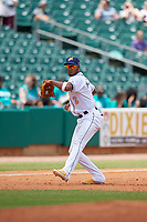 Montgomery Biscuits third baseman Jermaine Palacios (2) throws to first base during a Southern League game against the Mobile BayBears on May 2, 2019 at Riverwalk Stadium in Montgomery, Alabama.  Mobile defeated Montgomery 3-1.  (Mike Janes/Four Seam Images)