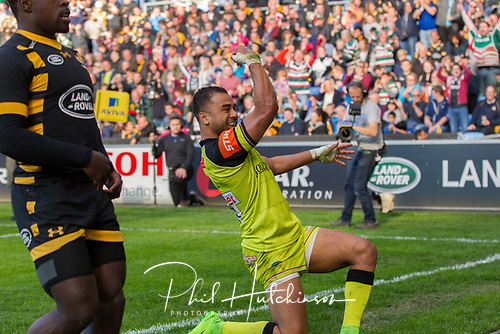 May 20th 2017, Ricoh Arena, Coventry, England; Aviva Premiership Rugby - Championship Semi-Final semi-final, Wasps versus Leicester Tigers;   Telusa Veainu celebrates scoreing a try for Leicester Tigers in the 47th minute