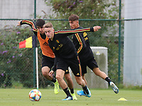 20190903 – TUBIZE , BELGIUM : Belgian Thibault de Smet (right) and Robbie D'Haese (right) are pictured during a training session of the U21 youth team of the Belgian national soccer team Red Devils , a training session as a preparation for their first game against Wales in the qualification for the European Championship round in group 9 on the road for Hungary and Slovenia in 2021, Tuesday 3rd of September 2019 at the National training grounds in Tubize , Belgium. PHOTO SPORTPIX.BE | Sevil Oktem
