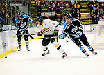 29 January 2010: University of Vermont Catamount defenseman Kevan Miller, a Junior from Los Angeles, CA, keeps the offence off the puck during the first period against the University of Maine Black Bears at Gutterson Fieldhouse in Burlington, Vermont. The Black Bears defeated the Catamounts 6-3 in the first game of their America East weekend series. Mandatory Credit: Ed Wolfstein Photo