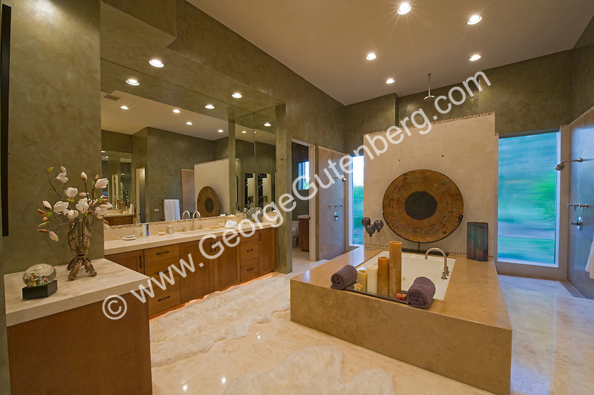 Large Modern Luxury Bath with green walls Stock photo of master bath, en suite, bathroom
