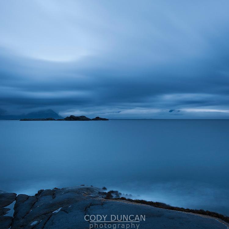 Dark weather over coast, Stamsund, Lofoten islands, Norway
