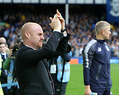 1st October 2017, Goodison Park, Liverpool, England; EPL Premier League Football, Everton versus Burnley; Sean Dyche, Burnley manager applauds his teams fans