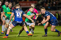 3rd January 2020; AJ Bell Stadium, Salford, Lancashire, England; English Premiership Rugby, Sale Sharks versus Harlequins; Danny Care of Harlequins attempts to get between Jean-Luc du Preez and Ross Harrison of Sale Sharks - Editorial Use