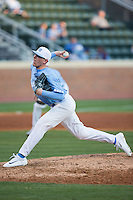North Carolina Tar Heels relief pitcher Rodney Hutchison Jr. (48) delivers a pitch to the plate against the Kentucky Wildcats at Boshmer Stadium on February 17, 2017 in Chapel Hill, North Carolina.  The Tar Heels defeated the Wildcats 3-1.  (Brian Westerholt/Four Seam Images)