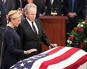 Warren Beatty and Annette Bening pay respects to the late US Senator John McCain (Republican of Arizona) during the Lying in State ceremony honoring  in the US Capitol Rotunda in Washington, DC on Friday, August 31, 2018.<br /> Credit: Ron Sachs / CNP<br /> <br /> (RESTRICTION: NO New York or New Jersey Newspapers or newspapers within a 75 mile radius of New York City)