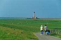 Westerhever Leuchturm, Vorland vom Deich aus gesehen, Nordsee, Schleswig-Holstein