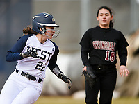 NWA Democrat-Gazette/CHARLIE KAIJO Bentonville West High School Carlee Durham (22) runs to third during a softball game, Thursday, March 13, 2019 at Bentonville West High School in Centerton.