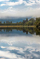 Lake Matheson with reflections of Mt. Cook and Mt. Tasman, Westland National Park, West Coast, New Zealand