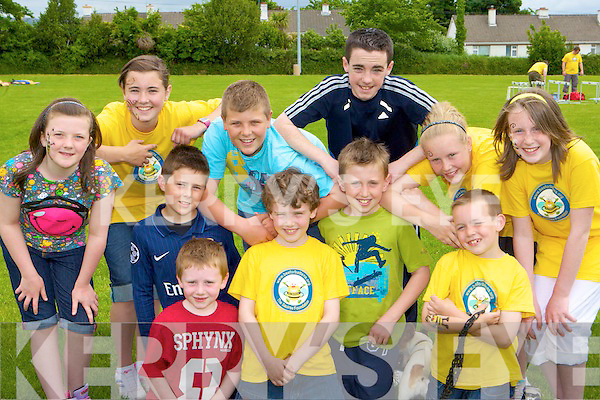 Enjoying the Bee for Battens family fun day in Keel on Saturday was front row l-r: Conor O'Dowd, Daniel Ashe, Darragh O'Dowd, james Sugrue, Liam Pigott. Back row: Laura Prendergast, Aili?s Murphy, Aaron Murphy, gavin Evans, Katie and Tara Pigott
