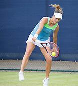 June 13th 2017, Nottingham, England; WTA Aegon Nottingham Open Tennis Tournament day 4;  Tatjana Maria of Germany plays a backhand