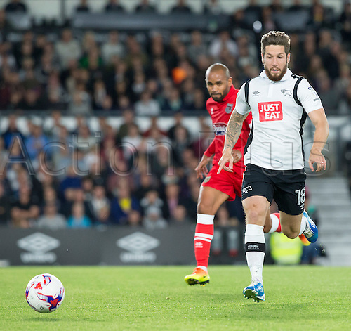 09.08.2016. iPro Stadium, Derby, England. Football League Cup 1st Round. Derby versus Grimsby Town. Derby County midfielder Jacob Butterfield  chasing the long ball.