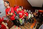 Hiroshima Carp baseball team fans line up inside Hiroshima Brand Shop TAU in Ginza on September 11, 2016, Tokyo, Japan. Hundreds of Carps fans lined up from early morning outside Hiroshima Brand Shop TAU to buy victory t-shirts after Hiroshima baseball team got its first Central League title in 25 years after beating the Yomiuri Giants 6-4 on Saturday, September 10. (Photo by Rodrigo Reyes Marin/AFLO)