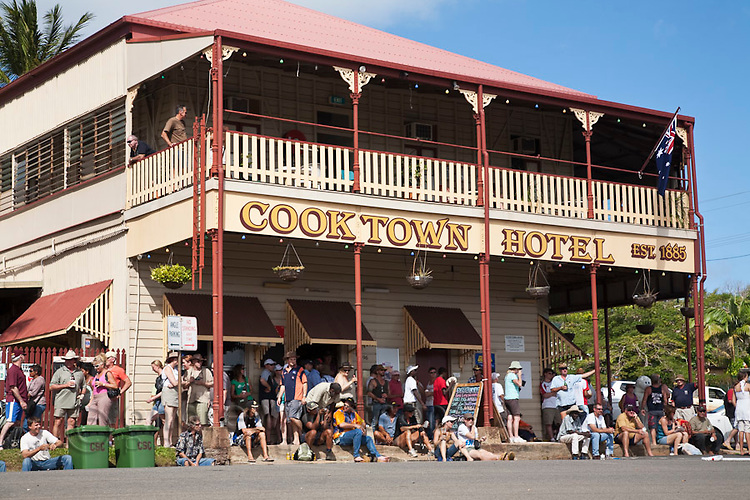 Drinkers at the historic Cooktown Hotel (also known as Top Pub).  Cooktown, Queensland, Australia