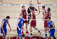 STANFORD, CA - March 2, 2019: Paul Bischoff, Stephen Moye, Kyle Dagostino, Jordan Ewert, Jordan Ewert at Maples Pavilion. The Stanford Cardinal defeated BYU 25-20, 25-20, 22-25, 25-21.
