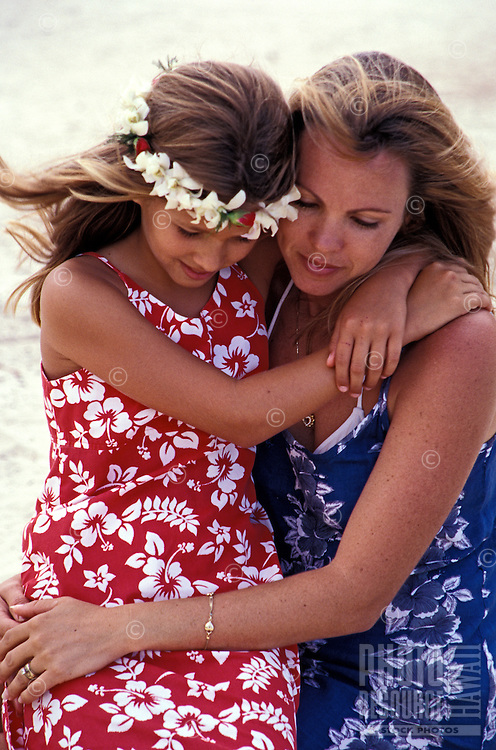 Mother and daughter in aloha wear at Kailua Beach Park.