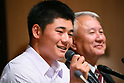 (L to R) <br /> Kotaro Kiyomiya (), <br />  Minoru Izumi, <br /> SEPTEMBER 22, 2017 - Baseball :<br /> Kotaro Kiyomiya of Waseda Jitsugyo attends <br /> a press conference in Tokyo, Japan. <br /> He announced that he aims to pursue a career <br /> in Nippon Professional Baseball instead of college education. (Photo by YUTAKA/AFLO)