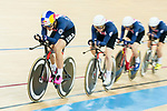 The team of USA with Kelly Catlin, Chloe Dygert, Kimberly Geist and Jennifer Valente competes in the Women's Team Pursuit Finals as part of the 2017 UCI Track Cycling World Championships on 13 April 2017, in Hong Kong Velodrome, Hong Kong, China. Photo by Marcio Rodrigo Machado / Power Sport Images