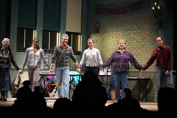 Estelle Parsons, Renee Elise Goldsberry, Tate Donovan, Frances McDormand, Becky Ann Baker and Patrick Carroll.during the Opening Night Performance Curtain Call for the Manhattan Theatre Club's 'Good People'  in New York City.