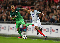 Marcus Rashford of England and Aljaz Strua of Slovenia<br /> <br /> Photographer Rob Newell/CameraSport<br /> <br /> FIFA World Cup Qualifying - European Region - Group F - England v Slovenia - Thursday 5th October 2017 - Wembley Stadium - London<br /> <br /> World Copyright &copy; 2017 CameraSport. All rights reserved. 43 Linden Ave. Countesthorpe. Leicester. England. LE8 5PG - Tel: +44 (0) 116 277 4147 - admin@camerasport.com - www.camerasport.com