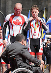 November 13 2011 - Guadalajara, Mexico: Daniel Chalifour with his pilot Ed Veal to receiving their Bronze medals at the 2011 Parapan American Games in Guadalajara, Mexico.  Photos: Matthew Murnaghan/Canadian Paralympic Committee