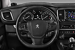 Car pictures of steering wheel view of a 2017 Peugeot Traveller Allure 4 Door Passenger Van Steering Wheel