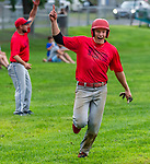 WINSTED , CT-080720JS18—Winsted's Michael Bobinski (5) celebrates as he comes in to score on a two RBI triple by Joseph Grantmeyer (3) during their CTEBA U19 playoff game with Waterford Friday at Walker Field in Winsted. <br /> Jim Shannon Republican-American