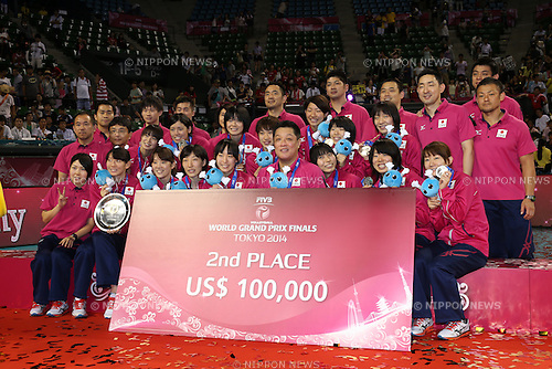 Japan Women's Volleyball team group (JPN),<br /> AUGUST 24, 2014 - Volleyball : FIVB World Grand Prix 2014 final round Medal Ceremony at  Ariake Coliseum, Tokyo, Japan. (Photo by AFLO SPORT)