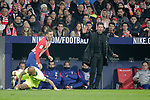 Club Atletico de Madrid's Lucas Hernandez and coach Diego Pablo Cholo Simeone (R) and Futbol Club Barcelona's Arturo Vidal (L) during La Liga match. November 24,2018. (ALTERPHOTOS/Alconada)