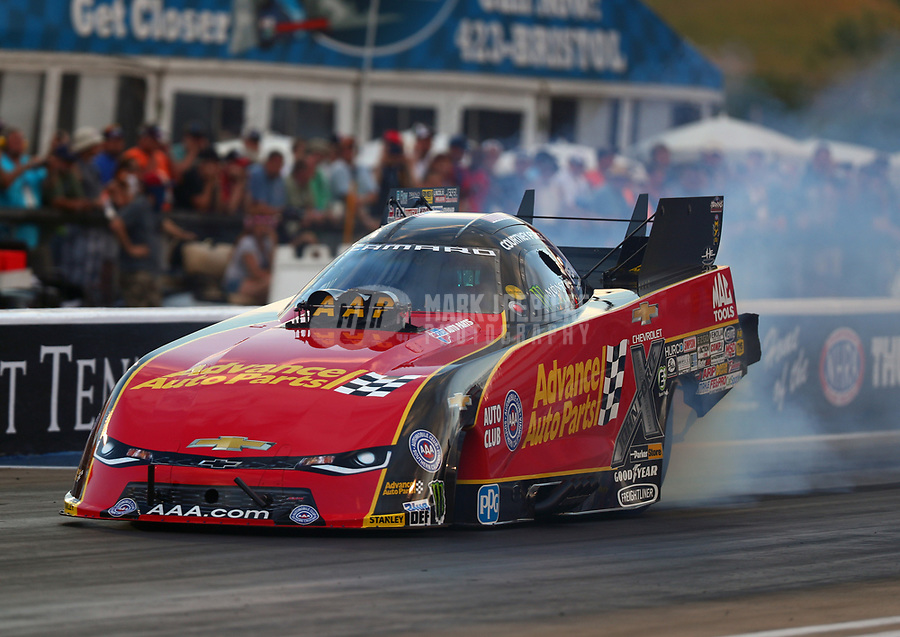 Jun 16, 2017; Bristol, TN, USA; NHRA funny car driver Courtney Force during qualifying for the Thunder Valley Nationals at Bristol Dragway. Mandatory Credit: Mark J. Rebilas-USA TODAY Sports