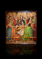 Gothic altarpiece depicting the Last Supper (Sant Sopar) by Jaume Huguet, circa 1463 - 1475, Temperal and gold leaf on wood, from the convent of Sant Augusti Vell, Barcelona.  National Museum of Catalan Art, Barcelona, Spain, inv no: MNAC  40412. Against a black background.