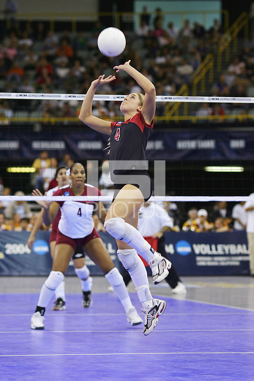 18 December 2004: Stanford Cardinal Bryn Kehoe during Stanford's  30-23, 30-27, 30-21 victory over Minnesota in the 2004 NCAA Women's Volleyball National Championships in Long Beach, CA. Stanford won their sixth women's volleyball title in school history.<br />
