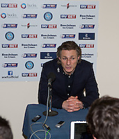 Wycombe Wanderers Manager Gareth Ainsworth gives a post match interview during the Sky Bet League 2 match between Wycombe Wanderers and Notts County at Adams Park, High Wycombe, England on 15 December 2015. Photo by Andy Rowland.