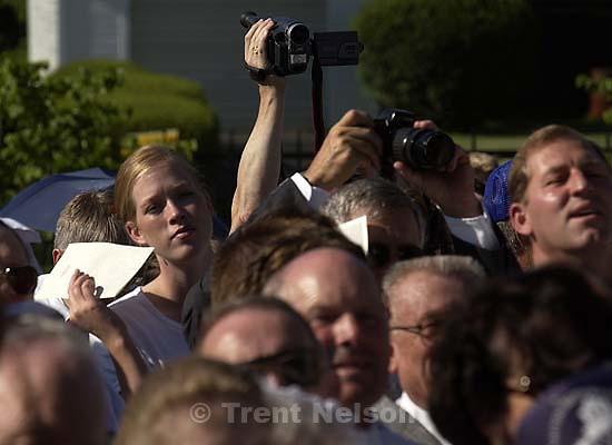 People with cameras. Nauvoo Temple dedication.&amp;#xA;. 06/27/2002, 7:39:59 AM<br />