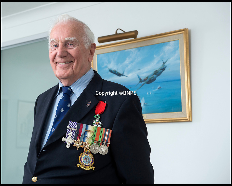 BNPS.co.uk (01202 558833)Pic: PhilYeomans/BNPS<br /> <br /> Living History - RAF hero reveals an unlikely friendship with the U-Boat captian he sunk!<br /> <br /> Former RAF Navigator Des Curtis(94) from Poole in Dorset - Won his DFC after sinking a German U-Boat off St Nazaire in March 1944, but later became a lifelong friend of its Captain Raimond Teisler.<br /> <br /> An RAF hero has told of how he memorably sunk a German U-Boat 75 years ago - then years later became unlikely friends with its commander.<br /> <br /> Flight Lieutenant Des Curtis was just 20 years old when he took part in the daring attack on U-976 south west of St Nazaire on the Atlantic coast of France on March 25, 1944.<br /> <br /> He was the navigator in a Mosquito armed with a 6-pounder gun which took out the submarine while evading anti-aircraft fire from minesweepers and shelling from the shore batteries.<br /> <br /> Four of the U-Boat's 53 man crew were killed in the attack which was later immortalised on the front page of the boy's own adventure magazine 'Victor'. <br /> <br /> Yet, remarkably, almost 50 years later, Flt Lt Curtis became pen pals with the U-976's Kommandant Raimond Teisler.<br /> <br /> They eventually met up in Germany, with Raimond also visiting Flt Lt Curtis in England before his death five years ago.