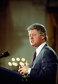 United States President Bill Clinton delivers an address to business leaders in the East Room of the White House in Washington, DC on February 11, 1993.<br /> Credit: Dennis Brack / Pool via CNP