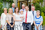 Donnchadh O'Sullivan, celebrates his christening with his parents Adrian and Mary and family in the Victoria House Hotel on Sunday l-r: Teresa Sheahan, Orla Howe, John O'sullivan, Jim Sheahan, John Sweeney and Marian O'Sullivan
